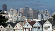 "Stock Video Footage of View across Alamo Square Park towards the  ""Painted Ladies"" Victorian houses"