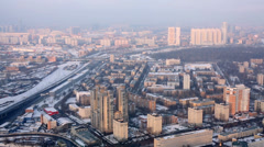Cityscape of third transport ring in Moscow. Stock Footage