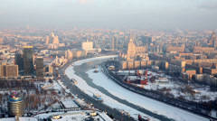 Moscow river in winter, view from high-rise building window. Stock Footage