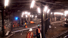 Repair work in the New York City subway. Stock Footage