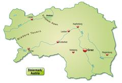 map of styria as an overview map in pastel green - stock illustration