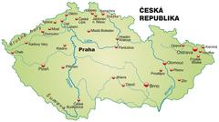 map of czech republic as an overview map - stock illustration