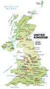 Map of england as an overview map in pastel green Stock Illustration