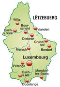 Map of luxembourg as an overview map in pastel green Stock Illustration