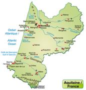 map of aquitaine as an overview map in pastel green - stock illustration