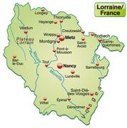 Map of lorraine as an overview map in pastel green Stock Illustration