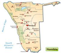 map of namibia as an overview map in pastel orange - stock illustration