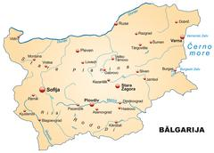 Stock Illustration of map of bulgaria as an overview map in pastel orange