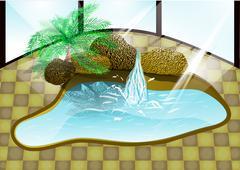 luxury pool - stock illustration