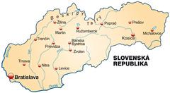 Stock Illustration of map of slovakia as an overview map in pastel orange