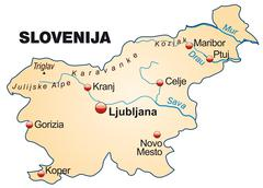 Stock Illustration of map of slovenia as an overview map in pastel orange