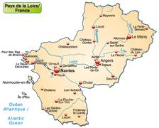 map of pays de la loire as an overview map in pastel orange - stock illustration