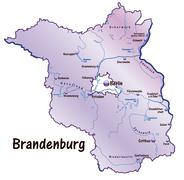 Map of brandenburg as an overview map in violet Stock Illustration