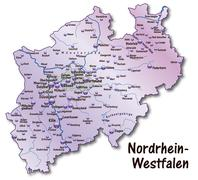 map of north rhine-westphalia as an overview - stock illustration