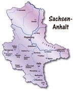 map of saxony-anhalt as an overview map in violet - stock illustration