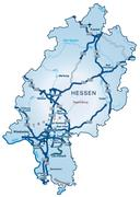 Stock Illustration of map of hesse with highways in blue