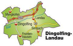 Map of dingolfing landau with highways Stock Illustration