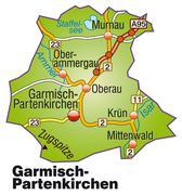 Stock Illustration of map of garmisch-partenkirchen with highways