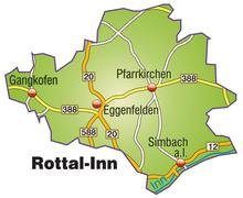 map of rottal inn with highways - stock illustration