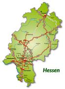 Stock Illustration of map of hesse with highways