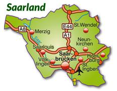 Map of saarland with highways Stock Illustration