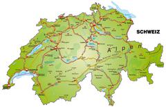 Stock Illustration of map of switzerland with highways