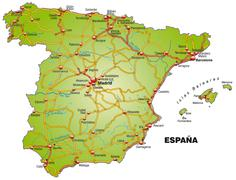 Stock Illustration of map of spain with highways