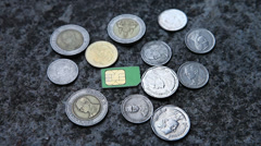 Thailand coins and phone card Stock Footage