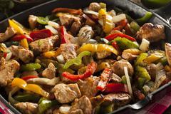 Homemade chicken fajitas with vegetables Stock Photos