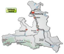 Stock Illustration of map of salzburg with highways in gray