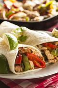 homemade chicken fajitas with vegetables - stock photo