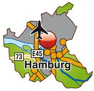 Stock Illustration of map of hamburg with highways in green