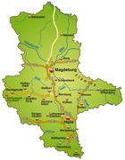 Stock Illustration of map of saxony-anhalt with highways in green
