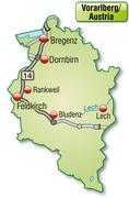 Stock Illustration of map of vorarlberg with highways in pastel green