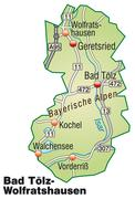Map of bad toelz wolfratshausen with highways in pastel green Stock Illustration