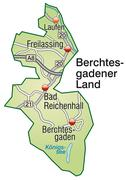 map of berchtesgadener land with highways in pastel green - stock illustration