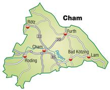 map of cham with highways in pastel green - stock illustration