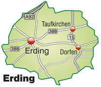 Map of erding with highways in pastel green Stock Illustration