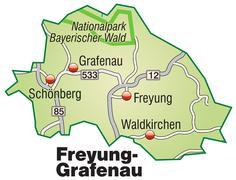 map of freyung grafenau with highways in pastel green - stock illustration