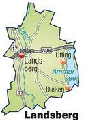 map of landsberg with highways in pastel green - stock illustration