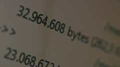 running bytes per second - stock footage