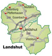 map of landshut with highways in pastel green - stock illustration