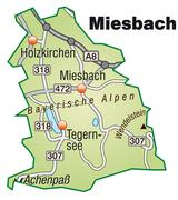 Map of miesenbach with highways in pastel green Stock Illustration