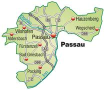 map of passau with highways in pastel green - stock illustration
