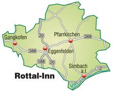 map of rottal inn with highways in pastel green - stock illustration