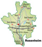 map of rosenheim with highways in pastel green - stock illustration