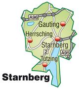 Stock Illustration of map of starnberg with highways in pastel green