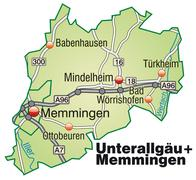 Stock Illustration of map of unterallgaeu memmingen with highways in pastel green