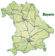 Stock Illustration of map of bavaria with highways in pastel green