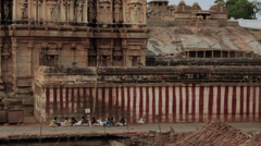 Outside the main temple in the Vijayanagara empire in Hampi, Karnataka, India. Stock Footage